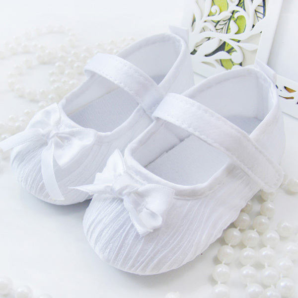 Cute Toddler Baby Kids Girls Bowknot Satin Crib Shoes Princess Shoes First Walkers Size 0-18M