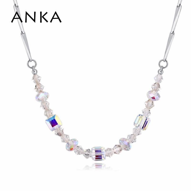 Анка Модные Простые геометрический Кристалл Чокеры ожерелье кристалл от Swarovski ювелирные изделия ожерелье для женщин Рождество подарок #121999