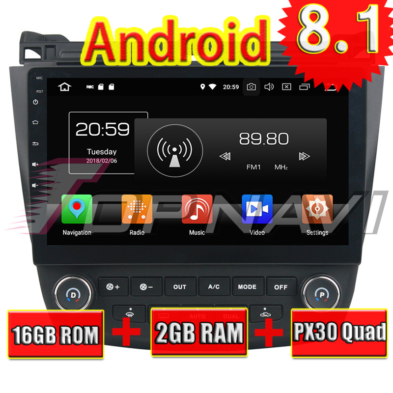Topnavi 10.1 Quad Core Android 8.1 Car GPS Navigation for Honda Accord 8 2003 2004 2005 2006 2007 Multimedia Audio NO DVD 28250