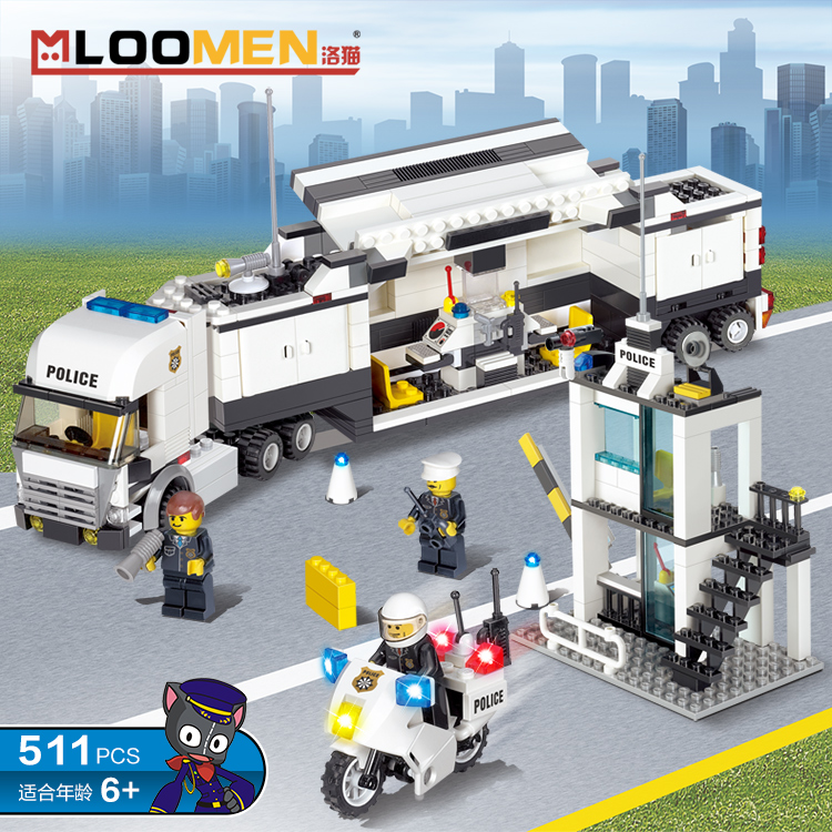 ФОТО MLOOMEN 6727 Police Station Building Blocks Bricks Educational Toys Compatible with all brand city Birthday Gift Toy Brinquedos