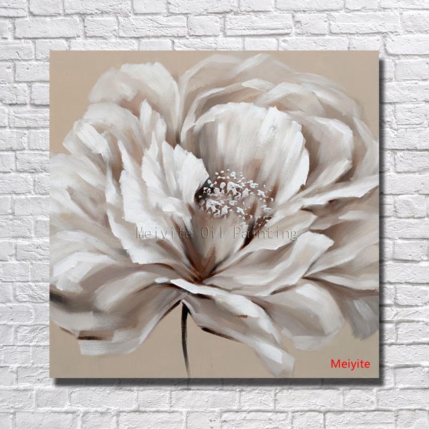 Magnificent white flower canvas art picture collection best big size pure hand painted abstract oil painting on canvas painting mightylinksfo