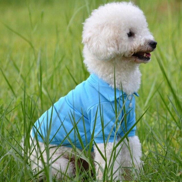 Pet Clothes Dog Solid color Polo Shirt Apparel Lapel Costume Dog Clothes T-shirt Casual Puppy Suit Cotton Clothes Cozy Shirt 2