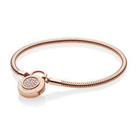 New 925 Sterling Silver Snake Chain Fit Rose Gold Moments Smooth Bracelet with Pandora Signature Padlock Clasp Women DIY Jewelry