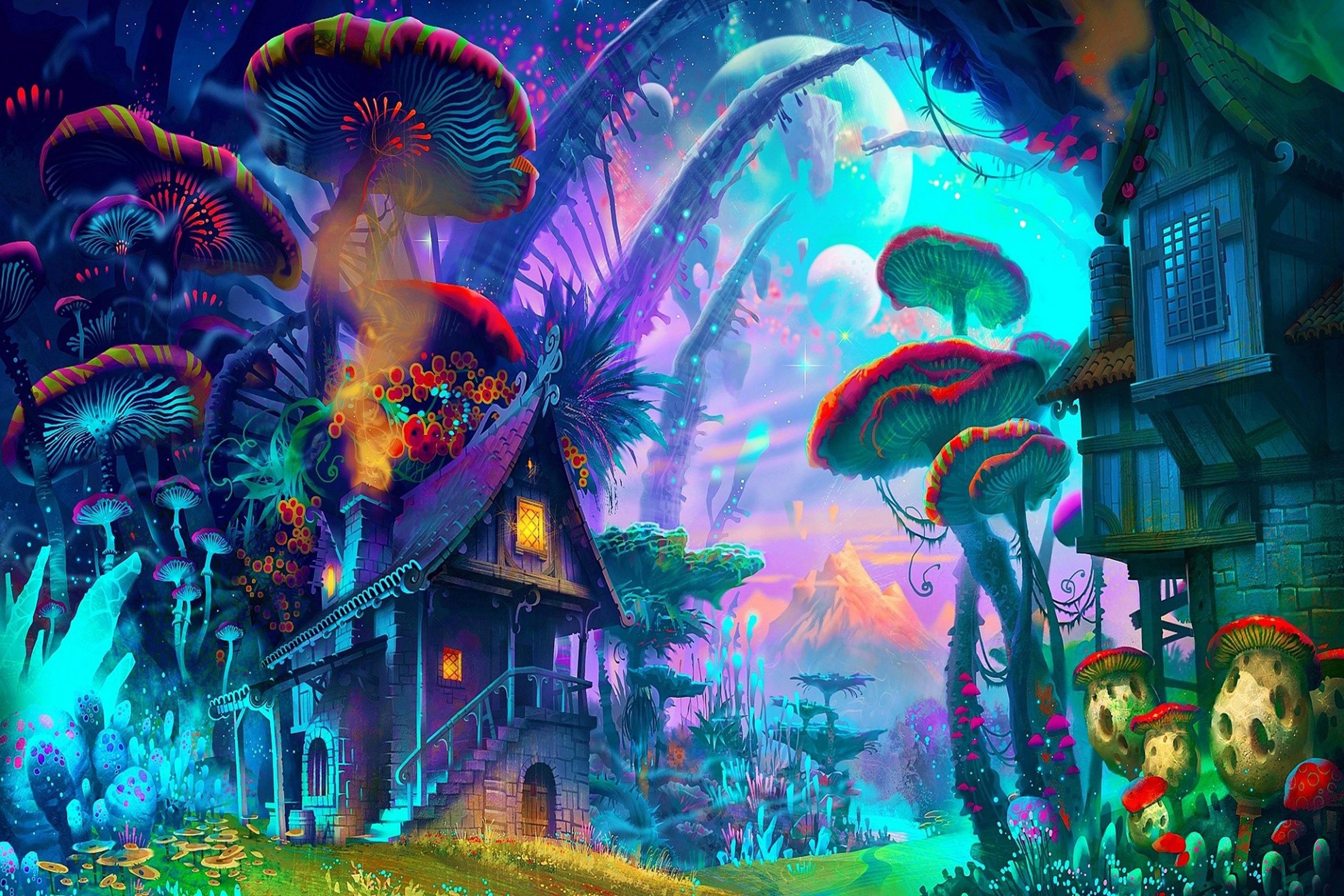 Accueil décoration fantasy art dessin nature psychédélique coloré maison champignon planète plantes montagne affiche imprimer ys34