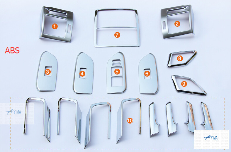 Interior For Toyota Prado FJ150 2014 2015 2016 Instrument Desk & Inner Handle Frame & Air Vent  Trim 17 Pcs / Auto accessories for toyota prado fj150 2014 2016 auto cover accessories interior door handle door armrest air outlet lamp frame covers 17pcs set