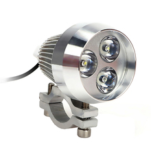 Moto Fog Light Head Light Lamp Motorcycle LED Headlight Refit Universal Silver Spotlight Metal Super Bright 3 LED