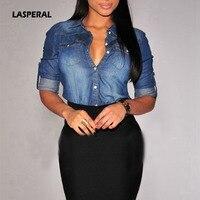 LASPERAL New 2017 Women Chanbray Shirt Long Sleeve Denim Shirt Vintage Blue Blousa Button Jeans Shirt