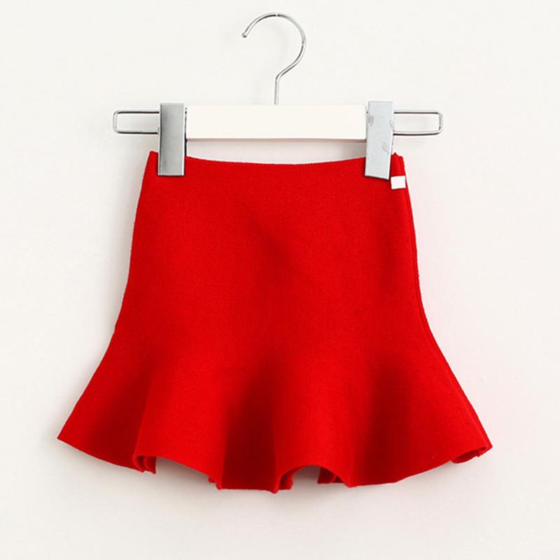 Wool knit solid short skirt girls half skirt 2017 new Korean children\'s clothing children\'s skirt (2)