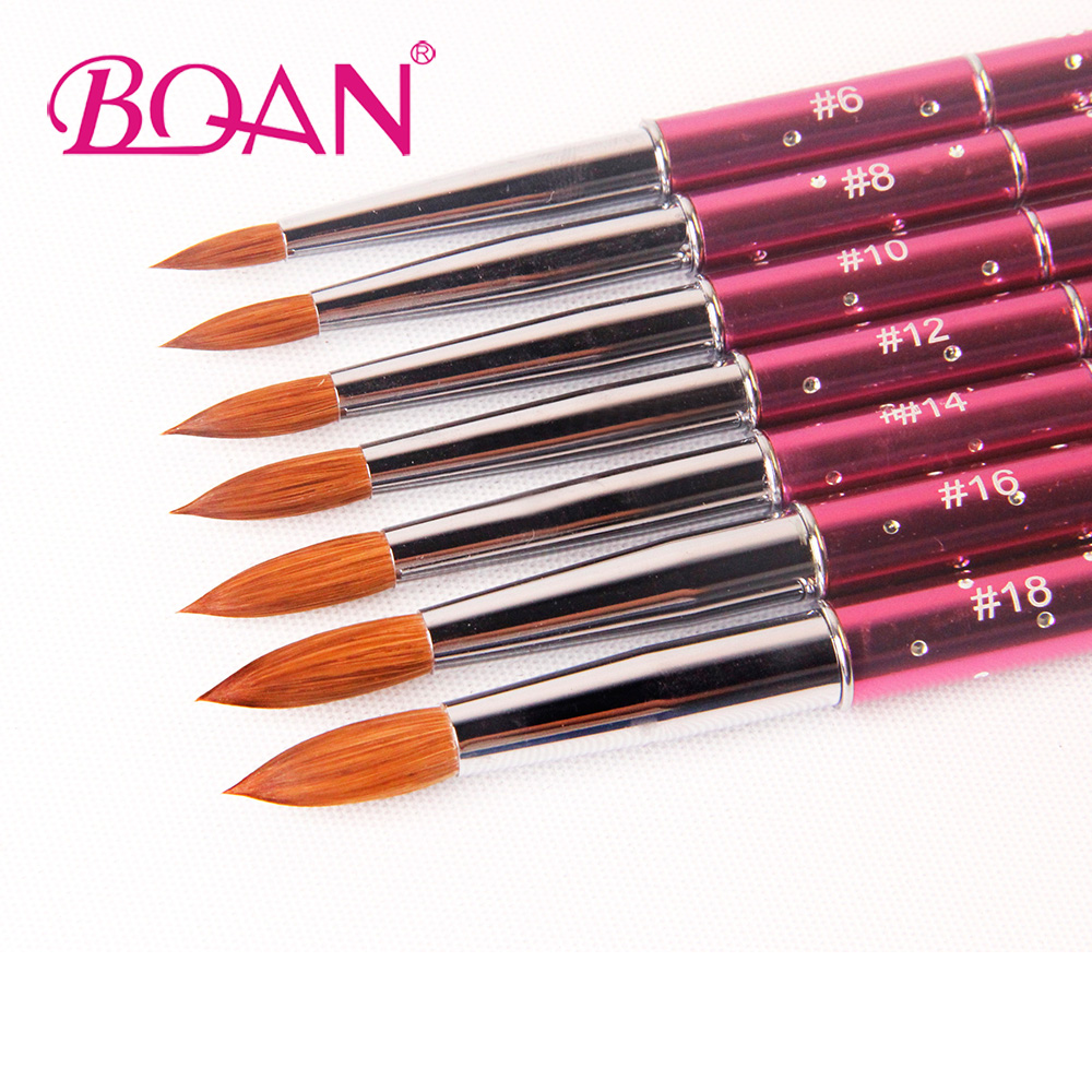 BQAN 10pcs #6#8#10#12#14#16#18 Kolinsky Sable Brush Acrylic NailBrush Nail Art Brush Pink Metal Crystal Acrylic 2017 osaka acrylic nail kolinsky brush 14