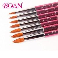 BQAN 10pcs #6#8#10#12#14#16#18 Kolinsky Sable Brush Acrylic NailBrush Nail Art Brush Pink Metal Crystal Acrylic 2017