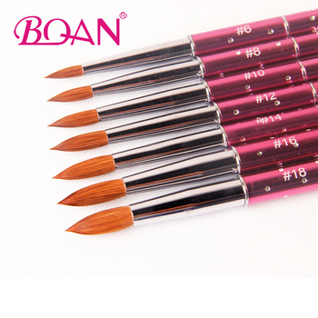 BQAN 10pcs Kolinsky Sable Nail Art Brushes #6#8#10#12#14#16#18 Acrylic Nail Brushes Brush Pink Metal Acrylic Manicure Art Tool