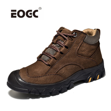 Super Warm Men Boots Quality Suede Leather Snow Fur Plush Winter Ankle For Lace Up Outdoor Shoes