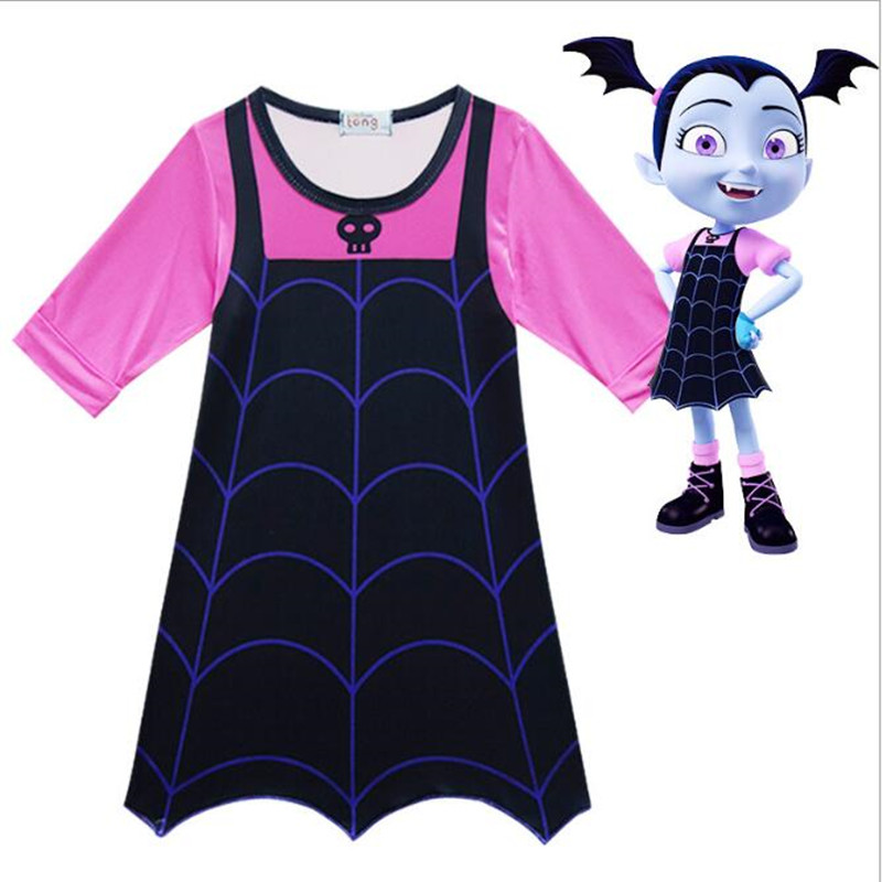 Girls Vampirina Costume Vampire Cosplay Children's Dresses Kids Halloween Carnival Fancy Party Dress For Girl Streetwear Clothes