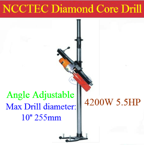 10'' 255mm drill ANGLE Adjustable Diamond Core Drill Machine for drilling holes in floor or wall | Multi-angle degree 4200w