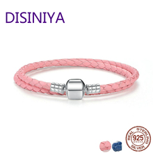 DISINIYA Genuine Long Double Pink Black Braided Leather Chain Women Bracelets with 925 Sterling Silver Snake Clasp PAS908