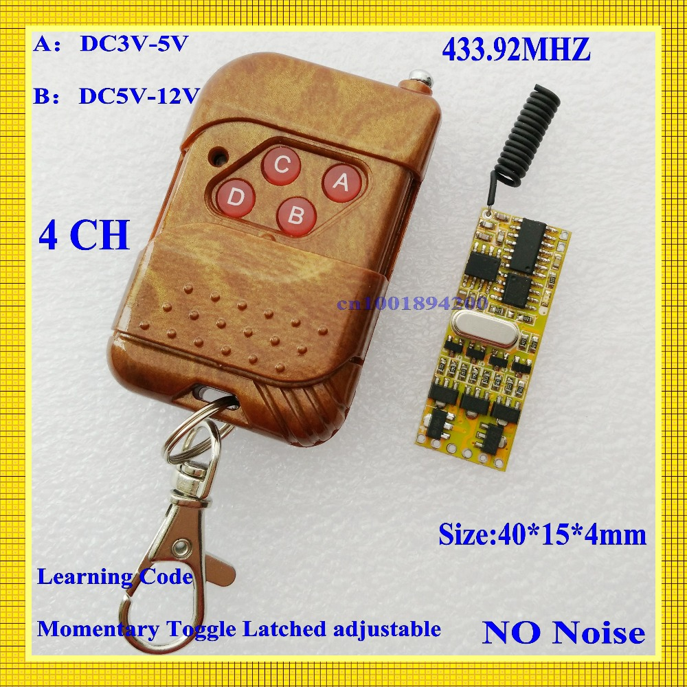 DC3V-5V Mini Remote Control Switch 3V 3.7V 4.5V 5V Micro 4CH Receiver Transmitter Small Size RX Momentary Toggle Latcged 433mhz mini remote control switch system micro dc3v 5v 2a relay 2 receiver transmitter momentary toggle latched learn 315 433