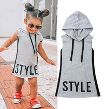 цена на Fashion 1-6T Toddler Girl Hoodie Dress Letter Print Sleeveless Dress Summer Tunic Letter Dress Casual Party Sundress Clothes