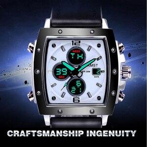 Image 2 - ファッション amst メンズ腕時計長方形 militray スポーツクォーツデュアルディスプレイ男性腕時計防水男性腕時計レロジオ masculino