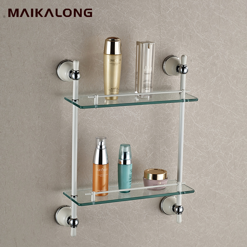 Bathroom accessories golden finish with tempered glass - Bathroom accessories glass shelf ...