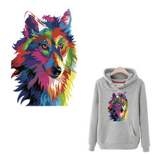heat press iron-on patches personality wolf patch animal household iron sticker transfer diy decoration appliqued for coat