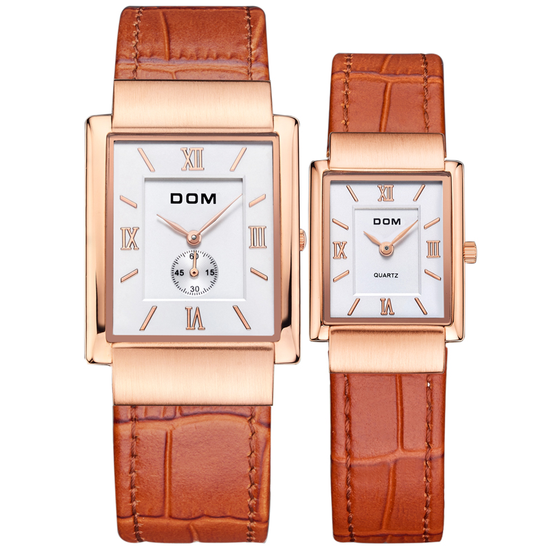 DOM leather gold lovers couple watch luxury brand waterproof style quartz   reloj 2016Square watches M-289G-1089 потребительские товары lucky faux 2015 reloj couple watch