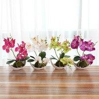 Moda Três Garfo Orquídeas Borboleta Bonsai Flor Artificial Conjunto Vaso Branco Casa Xmas Party Decoração Do Casamento