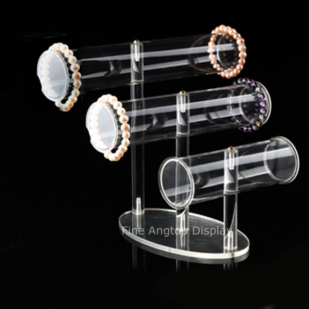 3 Tier Clear Acrylic T-Bar Bracelet Necklace Jewelry Displays Props Clear Stand Holder Tube Rack fixture displays clear acrylic plexiglass podium curved aluminum sides pulpit lectern