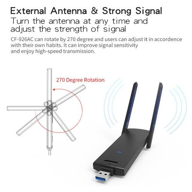 2017 New Wireless WiFi Adapter High Power Dual wifi Antenna 18dB 1200Mbps Wireless Network Card USB WiFi Receiver Adaptador WiFi