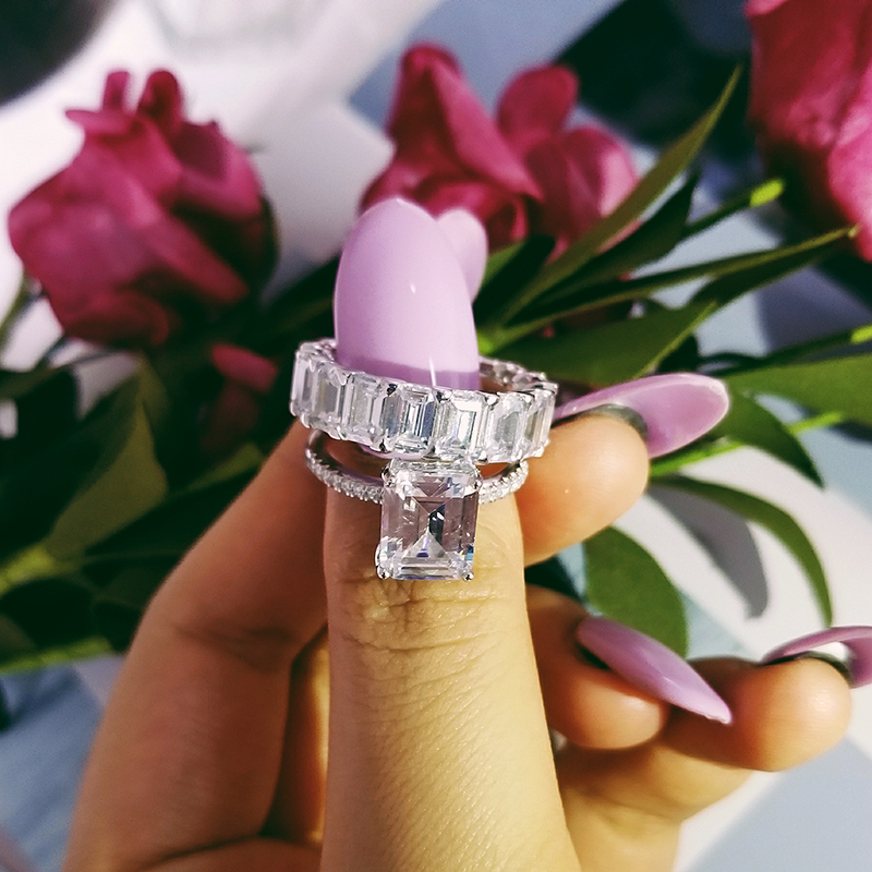 Moonso argent Sterling 925 anneaux pour femmes 2 Ct anneaux 2 pc princesse coupe mariage bijoux de fiançailles bague ensemble R4634S