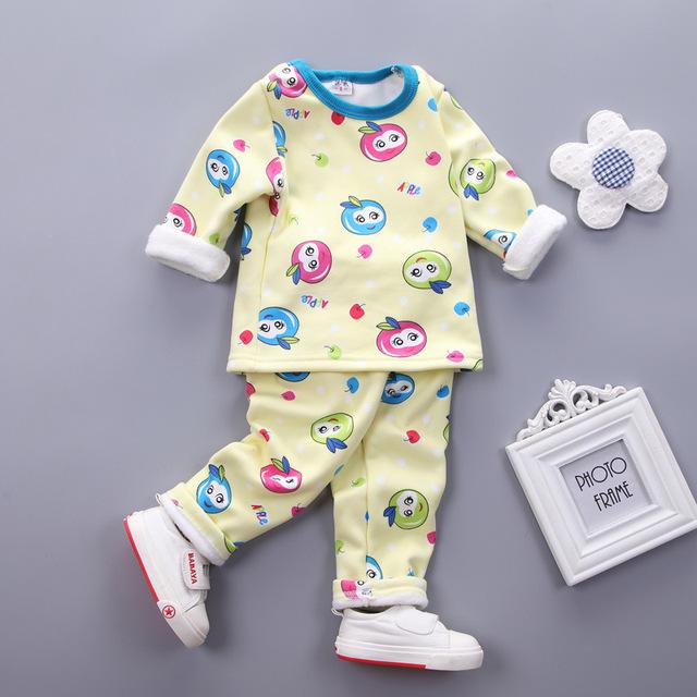 Crianças Conjuntos de Roupa Interior Térmica Calças Da Menina do Menino Do Bebê Set Longo de manga comprida Bebê Recém-nascido Manter Aquecido Pijama Terno Roupa Dos Miúdos Definir infantil
