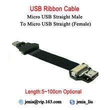 5CM ~ 100CM Ultra delgado USB Cable plano tipo cinta Micro hembra a macho Micro recto FPV Cable de datos