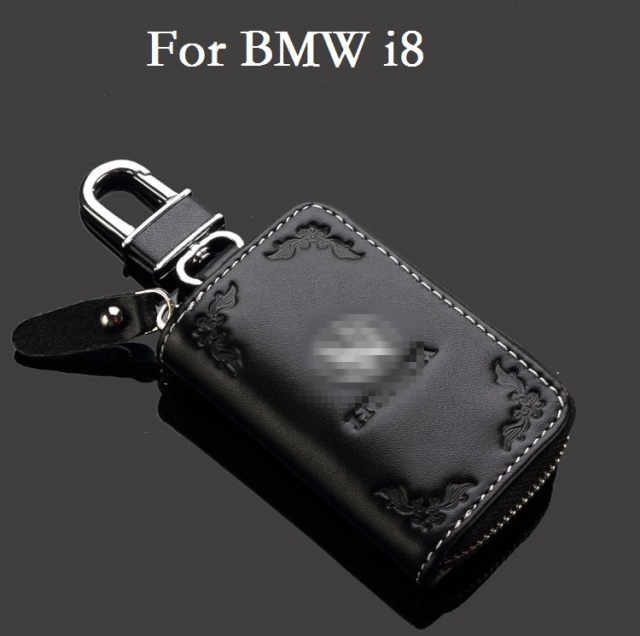 Leather Key Case Car Key Bag Keychain For Bmw I8 Key Rings Key Cover