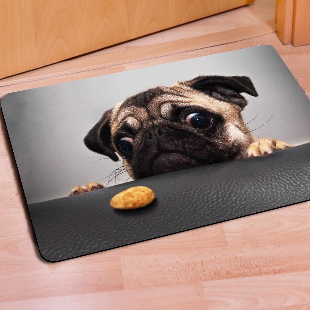 Hot 40cm*60cm Bathroom Carpet Door Area Rug Cute Pug Dog Doormat Childrens Room Anti-Slip Doormat Rectangular Bedroom Floor Mat