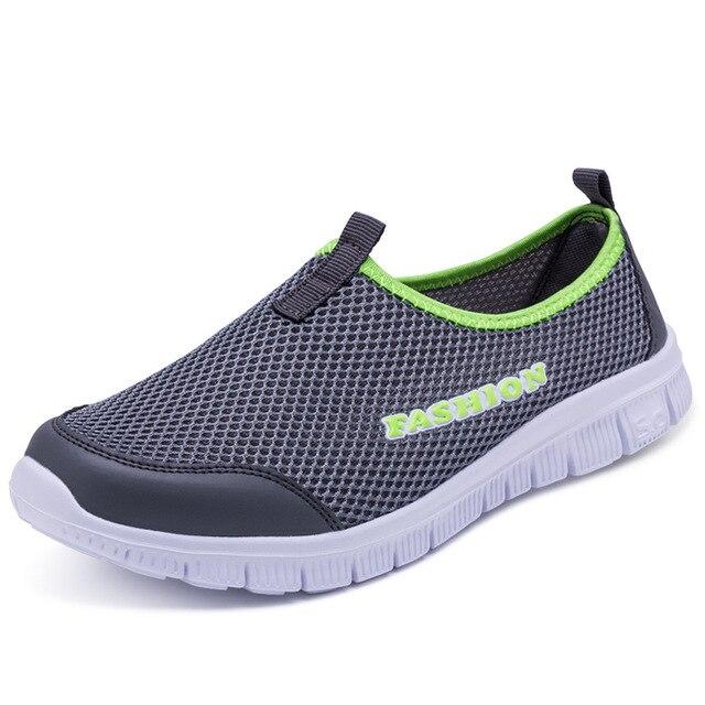 Zapatillas de deporte ligeras para hombre y mujer calzado deportivo transpirable de malla sin cordones