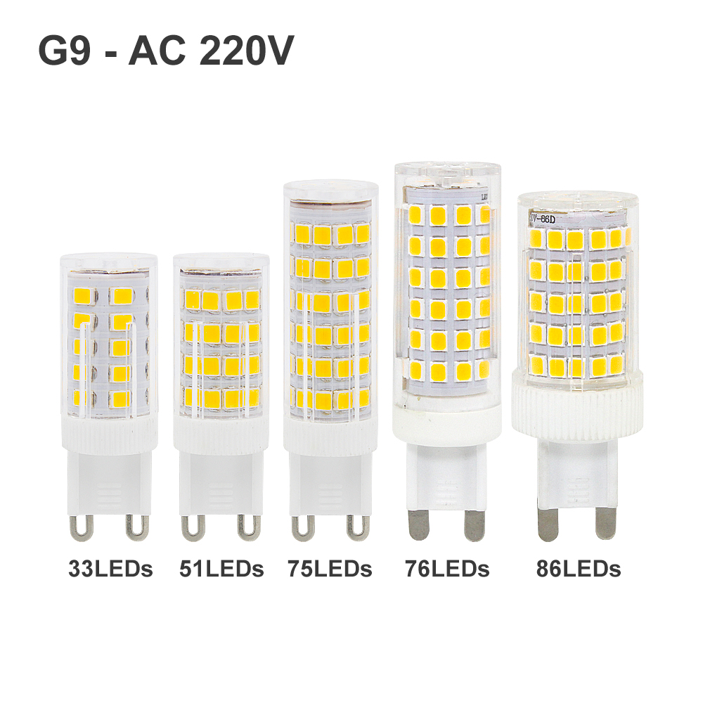 3W 4W 5W 8W 10W G9 LED Light Bulb AC 220V 2835SMD Super Bright  Corn Lamp Home Lighting Spotlight Chandelier Bulbs 3000K 6000K