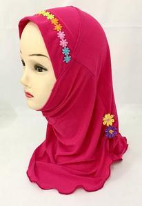 Image 5 - Ramadan Muslim Kids Girls Hijab Scarf Islamic Flower Caps Shawls Amira Headscarf Wrap Headwear Turban Arab Children Underscarf