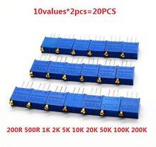 3296W potenciômetro 20pcs = 10values * 2pcs kit resistor ajustável W-200R 500R 1K 50 20 10 5 2K K K K K 100K 200K 102 103 104 201 SET