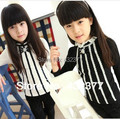 2016 girls's autumn clothing lace bottoming shirt children's long-sleeved T-shirt kids pearl bow cotton shirt  4T~12 wholesale