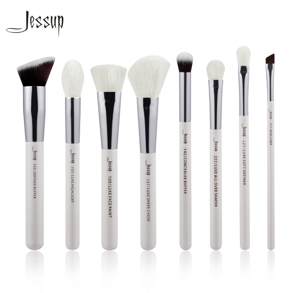 Jessup Pearl White/Silver Professional Makeup Brushes Set Make up Brush Tool kit Buffer Paint Cheek Highlight Shader line beauty