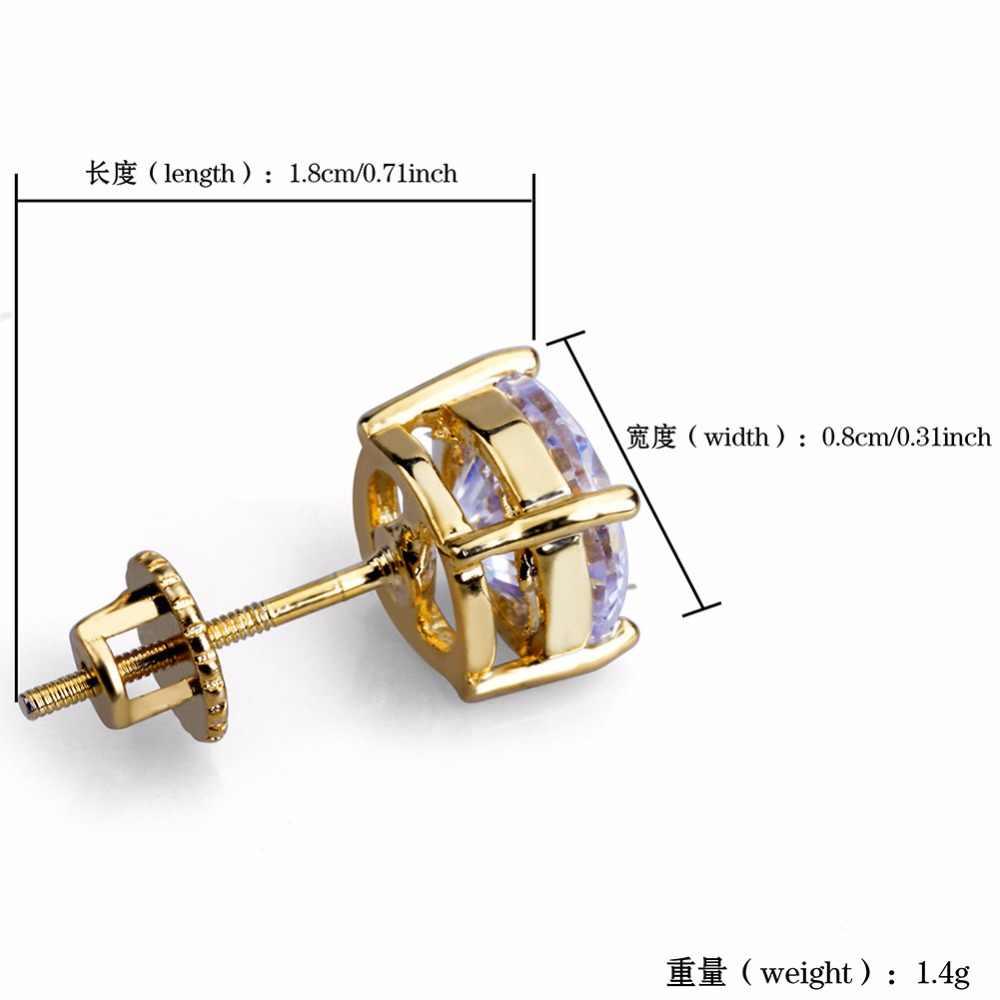 Hip-hopowa oprawa w krapach cyrkonia Bling Ice Out Stud kolczyk męski złoty kolor miedziane okrągłe kolczyki dla mężczyzn biżuteria