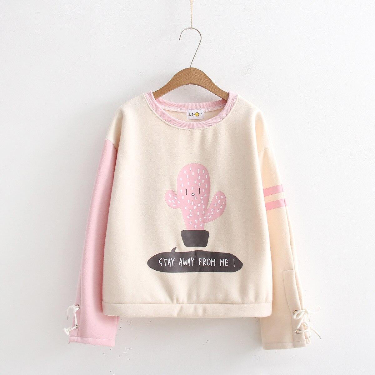 US $24 0 |Women Cute Cartoon Cactus Printing Cuff Rope Velvet Long Sleeve  Hoodies Ladies Casual Sweatshirt Cotton Tracksuit 350g S615-in Hoodies &