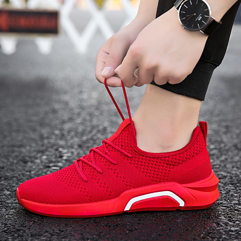 e5e3aa69ff 2018 New gray black red men sneakers more breathable mesh summer  comfortable high quality shoes size 39-44