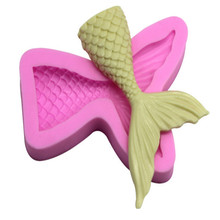 3D Mermaid Tail Fondant Silicone Mold Cake Decoration Kitchen Chocolate Baking Accessories 7.5*6.6*1.5cm