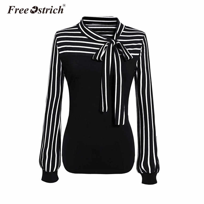 931bbf178c0d5b2 Бесплатная страуса блузка Модная рубашка в полоску для женщин офисные  женские туфли галстук бабочка воротник фонари