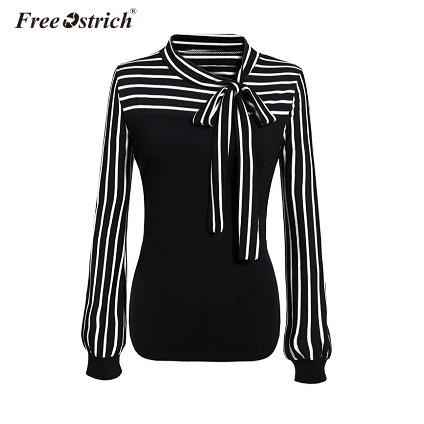 Free Ostrich Blouse Fashion Striped Shirt Women Office