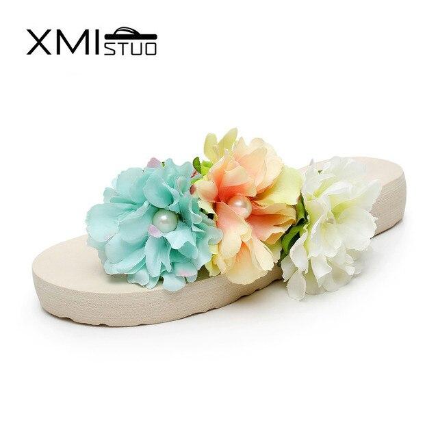 4906d201386 XMISTUO Summer Women Beach Slippers Bohemia Soft Slides 3CM Low-heeled  Korean House Slippers Girls Flower Sandals 2 Color 7017