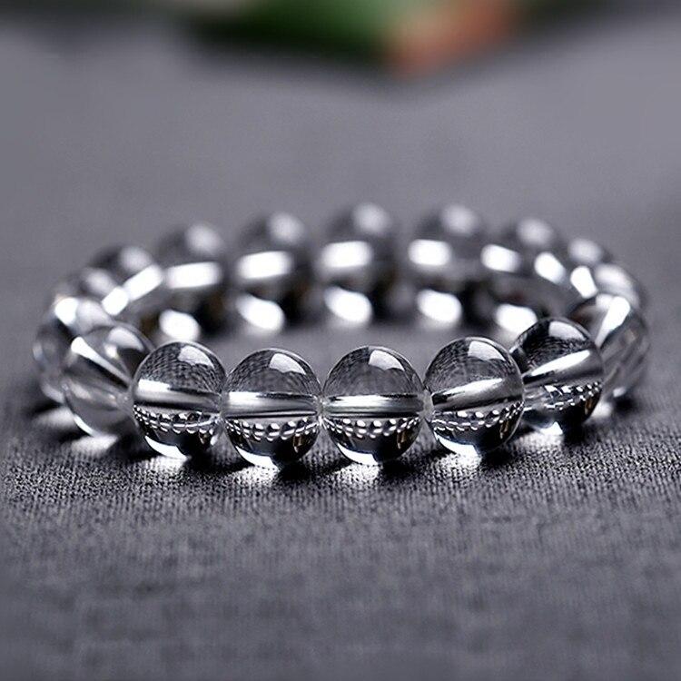 AAAA Natural Crystal Rock Crystal White Quartz Beads Tibetan Buddha Prayer Mala Bracelet For Woman 14mm