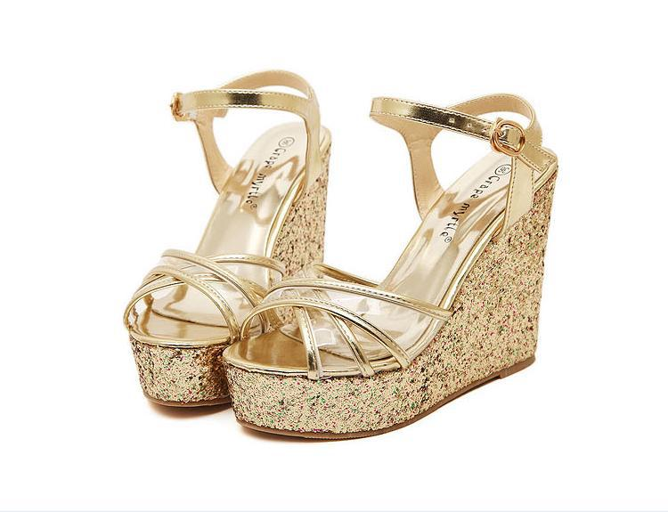 3a9ad239ec0ef Glitter Gold Pink Gladiator Sandals Women Jelly Shoes Clear Sandals Women  On Platform Wedges Chunky Heel Platform Wedge Sandals