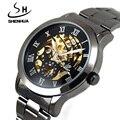 Shanghai Shenhua Watches Men Steampunk Clock Black Mechanical Skeleton Watches Men Male Gear Automatic Self Wind Wrist Watch