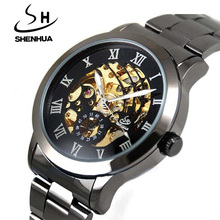 Shanghai Shenhua Watches Men Steampunk Clock Black Mechanical Skeleton Watches Men Male Gear Automatic Self Wind Wrist Watch